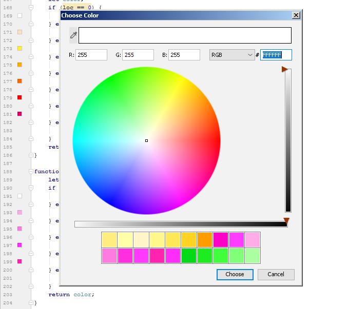 Integrierte Farbpalette